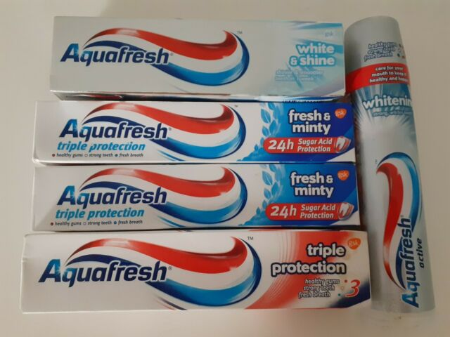 5 x AQUAFRESH Toothpaste, White & Shine, Whitening, Fresh & Minty Triple Protection
