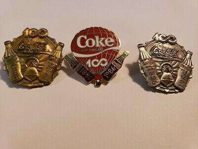 coca cola lapel pins 100 year set of 3