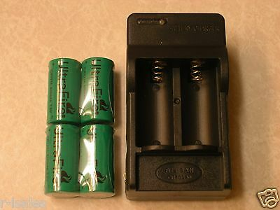 4 Cr123a Ultrafire Battery 3V Rechargeable   Charger