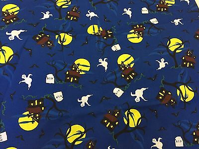 Halloween Haunted House RIP Ghost Bats Spooky Tree Full Moon on Blue Fabric BTHY