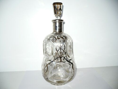 Antique Vintage Clear Glass Scotch Decanter Pinch Bottle Sterling Overlay Must C