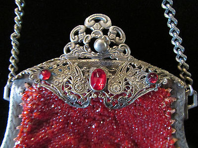 Gorgeous Red Antique Beaded Purse With Filigree and Jewels
