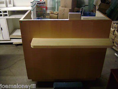 Kiosk Small Retail Register Counter Blonde W Shelf 1018 48 X 32 X 44