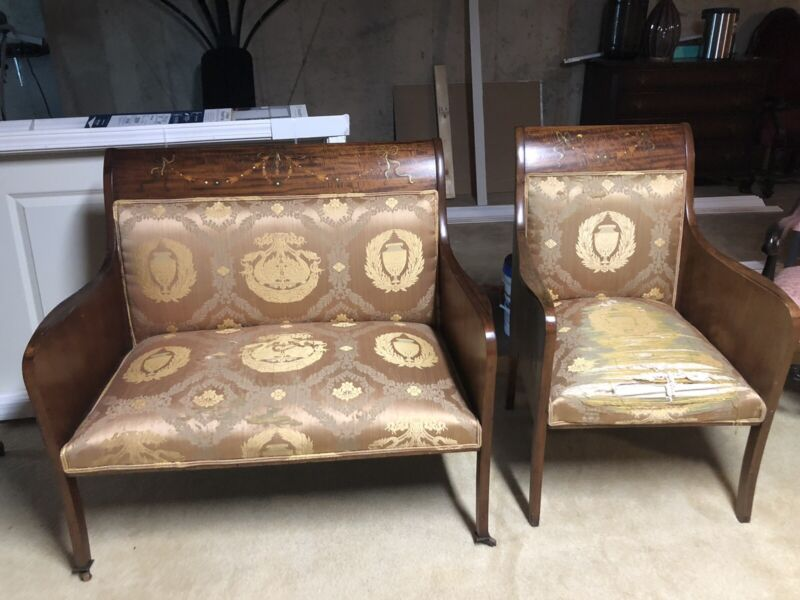Antique Rosewood & Mother of Pearl Inlaid Loveseat & Chair