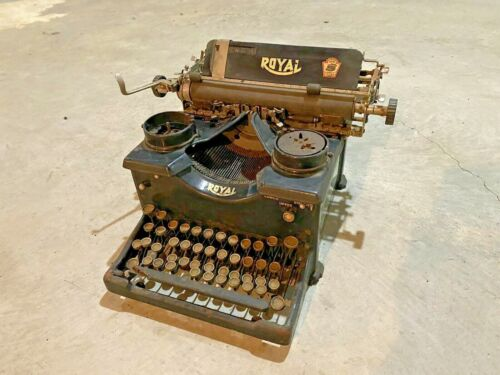 Antique Vintage Royal Typewriter with Beveled Glass Sides