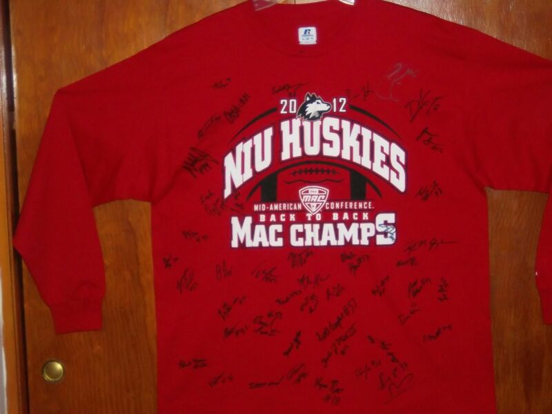 2012 Northern Illinois Huskies MAC Champs L/S T-Shirt XL ~ Team Autographed NWT