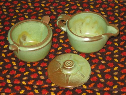 Frankoma Westwind Prairie Green Creamer, Sugar Bowl & *Lid Great Plainsman Match