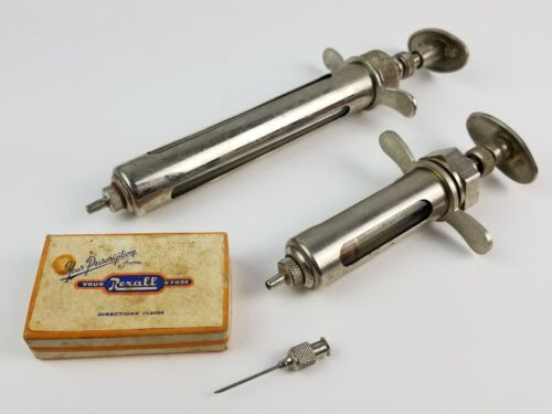 Pair Vintage B-D Animal Veterinarian Syringes w/ Rexall Tip in Box Stainless