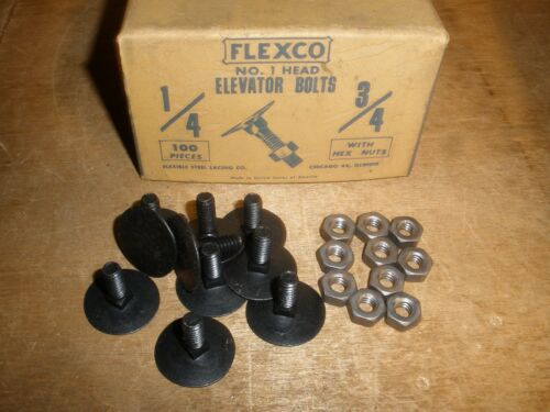 """1/4"""" X 3/4"""" Flexco Elevator Bolts & Hex Nuts Vintage New Very Old Stock (Qty.20)"""