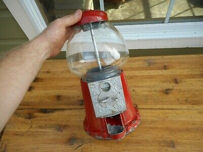 "Vintage 15"" Taiwan Metal Red Carousel Gumball Machine No Key"