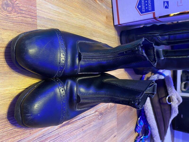 EQUISTAR Kids Paddock Boots Black Size: 5 Zipped