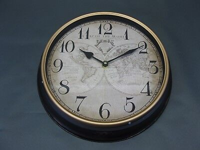 Metal Wall Clock 30 cm Nostalgic Antique Style World Map Loft Station