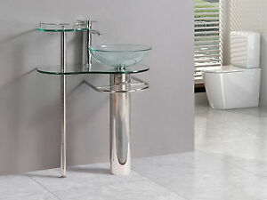 modern Bathroom vanities pedestal vessel glass furniture sink w bath faucet 18