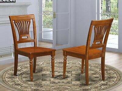 Set of 2 Plainville dinette kitchen & dining chairs w/ wood seat in saddle brown
