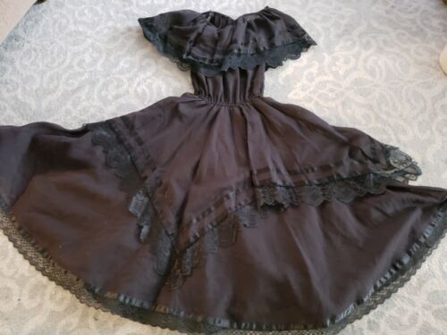 Gorgeous  black square Dance lace trim Dress full circle