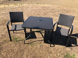 Square Outdoor Table with 2 Chairs