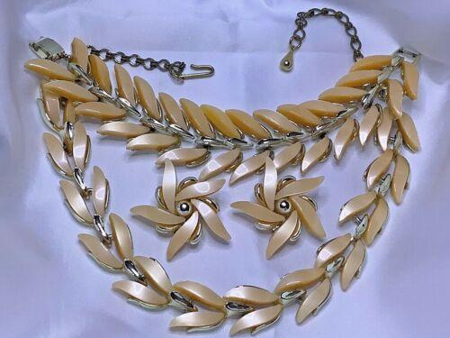 """Vintage CLAUDETTE  3Pc Set Thermoset 15"""" Necklace 7""""Bracelt  Pinwheel Ear 🍂"""
