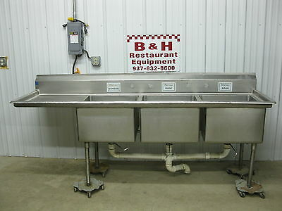 98 12 Heavy Duty 3 Bowl Compartment Stainless Steel Sink W Left Drain Board
