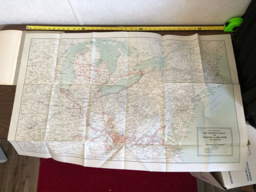 1937 Pere Marquette Railway Company 21st Annual Report Fold Out Map PM RY C&O