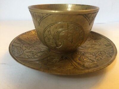 Antique Islamic Persian Qajar Bronze Cup & Saucer