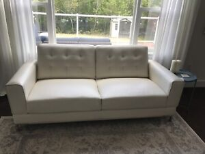 White Faux Leather Love Seat