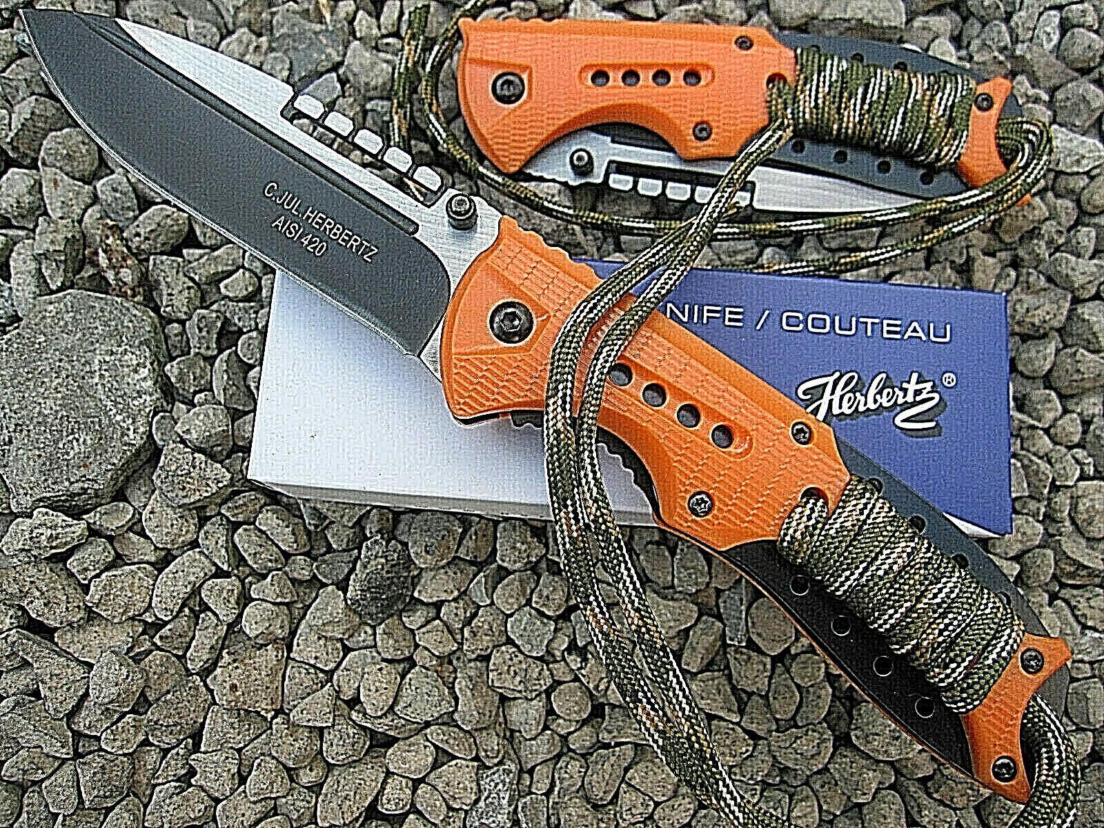 HERBERTZ Einhandmesser Taschenmesser Angler Messer Outdoor Paracord orange