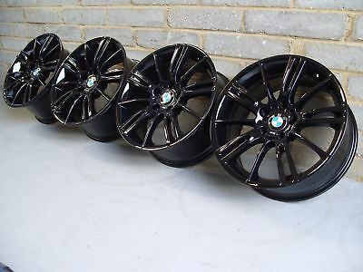"Genuine BMW MV3 staggered Alloy Wheels 18"" E46 E90 E92: Gloss Black M3 CSL BBS, used for sale  Blackpool"