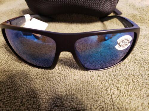COSTA DEL MAR SUN GLASSES 580G HAMLIN  MATTE BLACK WITH BLUE MIRROR LENS 580G