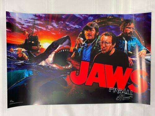 Jaws L.E. 27/75 Christoper Franchi Auto Pinball Game Translite Sign NEW 19x26