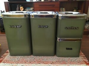 Vintage Green Metal Canisters - Made in Canada