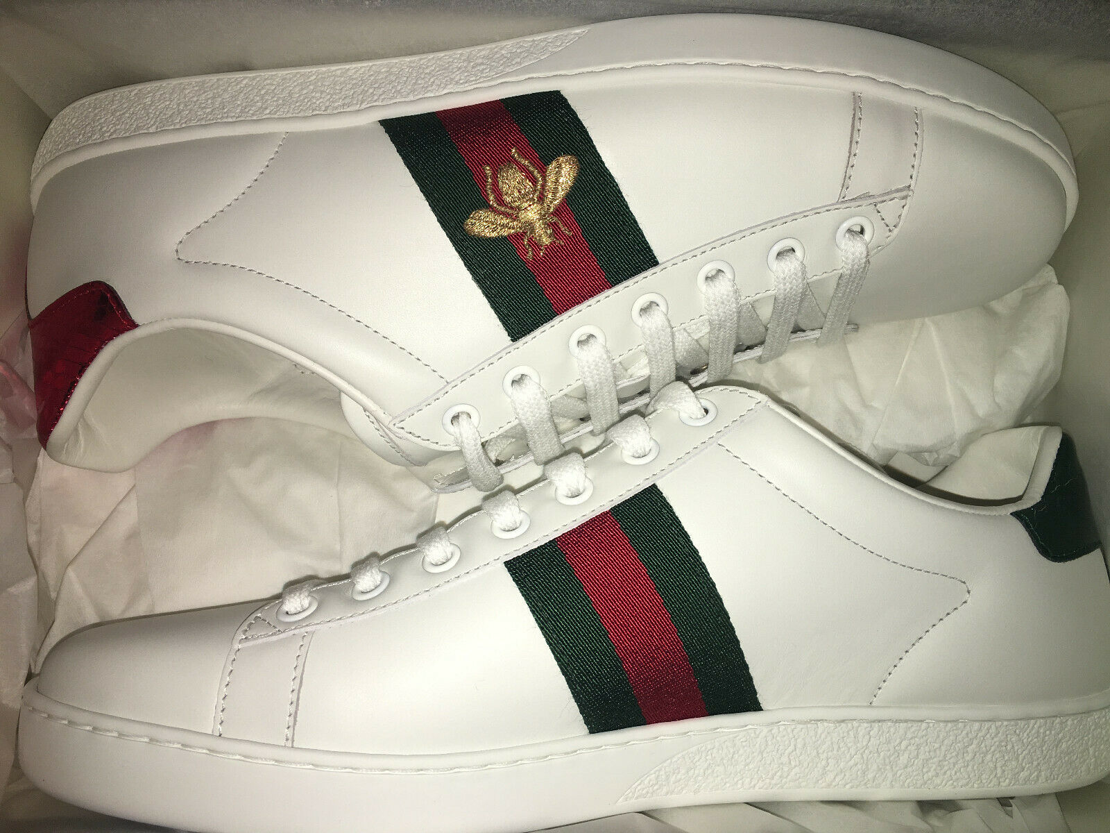 NEW $650 GUCCI Women Ace Embroidered Leather Sneakers Shoes EU 39 Or 40