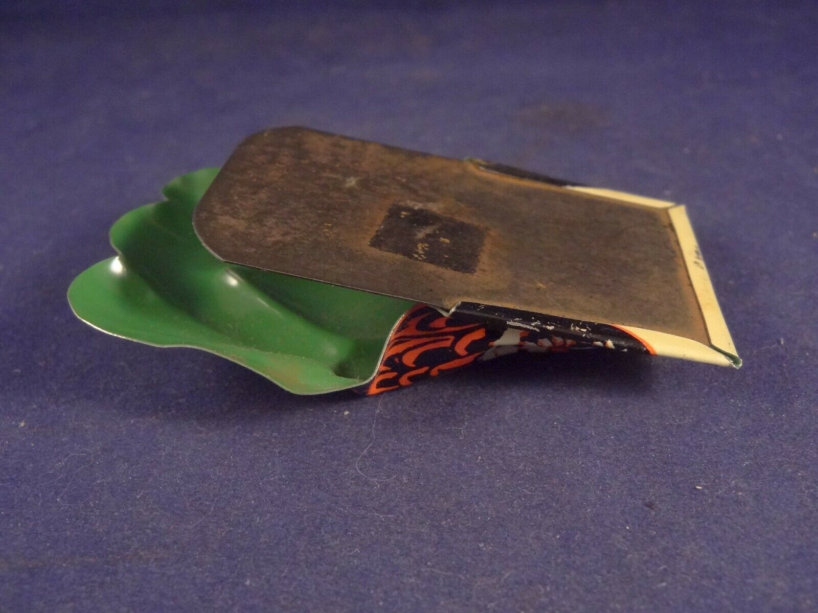 Ancien jouet rare clic-clac clicker cri-cri chouette hibou tôle années 40-50