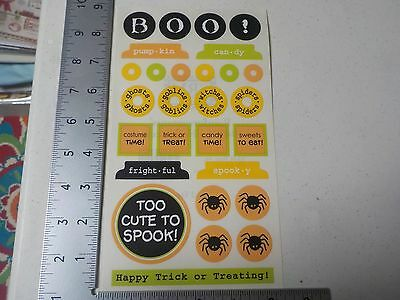 SRM HALLOWEEN WORDS SPIDERS BOO WITCHES GOBLINS STICKERS SCRAPBOOKING A2397 - A Halloween Words