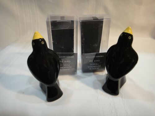 "2 Williams Sonoma Black Pie Bird 3-7/8"" Ceramic Baking Steam Vent NEW"