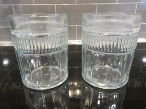 """2 Anchor Hocking ANNAPOLIS Clear 4"""" Double Old Fashioned Tumblers Canton LOOK"""