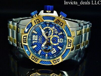 Invicta Men's 50mm Pro Diver SCUBA Chrono Blue Fiber Glass Gold Tone 2Tone Watch