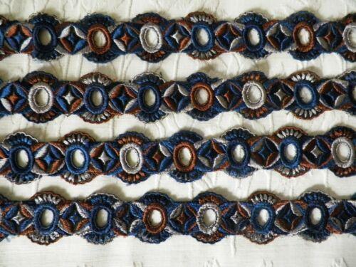 "Antique 1920s Art Deco Embroidered Tulle Net Flapper Dress Trim 4 Pcs 98"" Total"