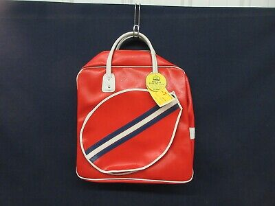 Best Ever Tennis Utility Bag Vintage Sports Carry Case Red White Vinyl