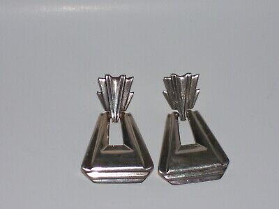 1920s Art Deco Jewelry: Earrings, Necklaces, Brooch, Bracelets Vintage Art Deco Designer HOLMAN Sterling Silver Pierced Earrings $18.00 AT vintagedancer.com