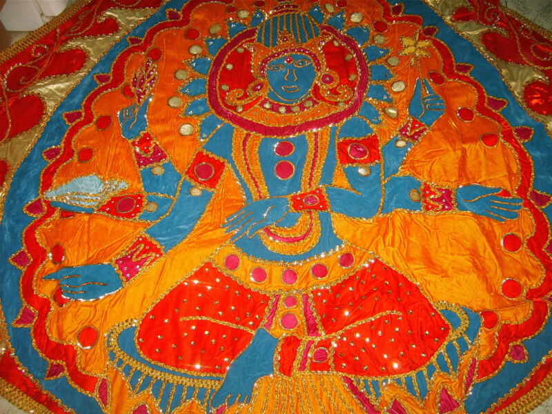 Vintage HAND MADE Jeweled-Satin Lined MARDI GRAS CAPE Lord Shiva 8