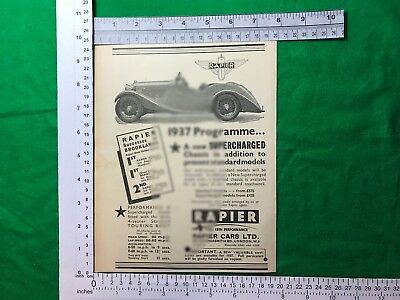 1936 Rapier Cars Ltd. 4 seater touring body vintage advert supercharged