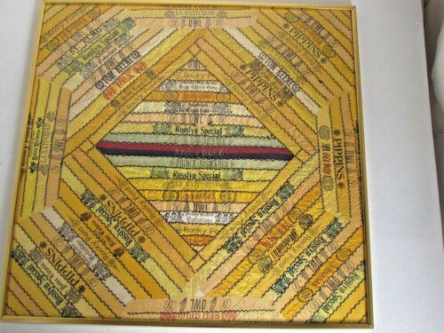 Antique Silk Cigar Bands Pillow Cover Framed