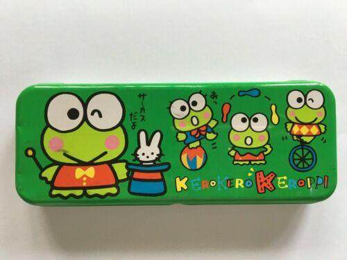 Vintage Sanrio Keroppi Tin Trinket Case Box Container Frog Green