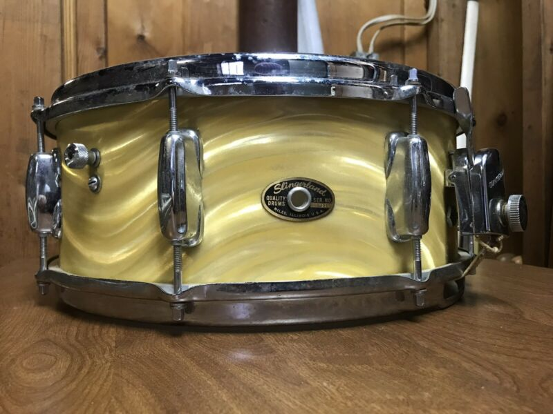 Rare SLINGERLAND 5x14 Snare Drum in Gold Satin Flame