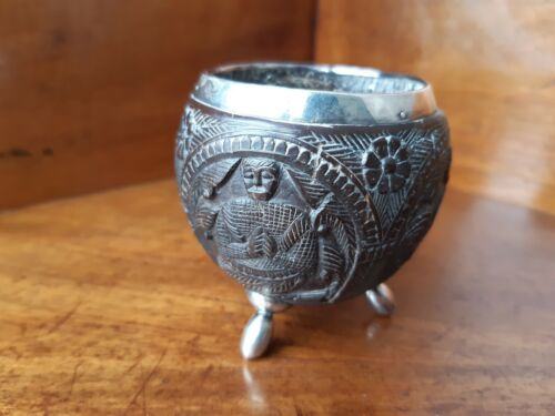 Antique Indian Carved Nut Pot with Silver Feet and Rim