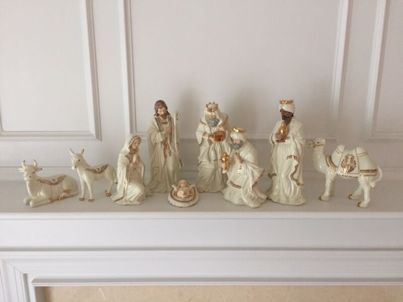 "Jade Porcelain with Gold Trim Nativity Scene Set 9 Piece Large 10"" Figures, Box"