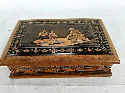 Vintage Small Wooden Box With Lid Marquetry Inlay Brass Hinges