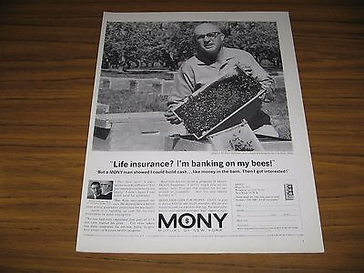 1963 Print Ad Mony Mutual Of New York Life Insurance Bee Keeper   Bees
