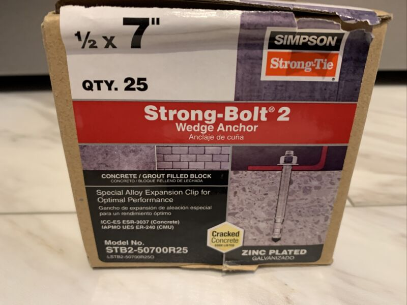 "Box of 25 Simpson 7"" x 1/2"" Strong-Bolt 2 Wedge Anchor - STB2-50700R25 Concrete"