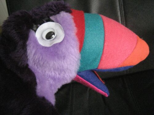 Toucan Plush Hand Puppet COLORFUL MOVABLE BEAK Purple Body GOOGLY EYES 14""